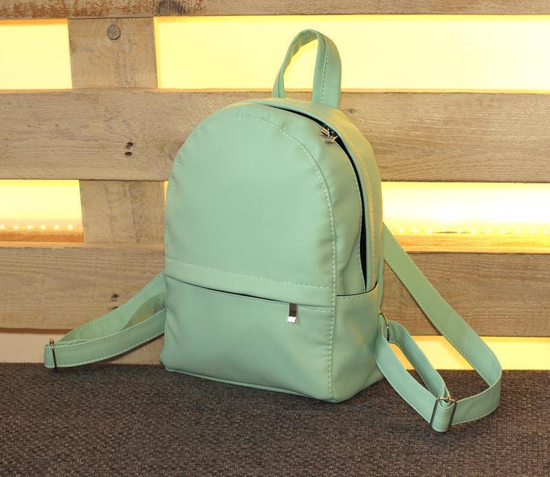 Удобный небольшой рюкзак, кожзам ментолового цвета