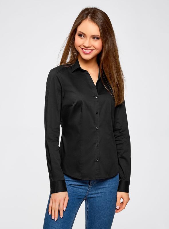 Классическая приталенная хлопковая черная рубашка блуза