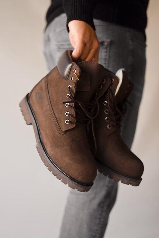 Прекрасные ботинки мужские 💪timberland brown ( на меху)💪 - Фото 3