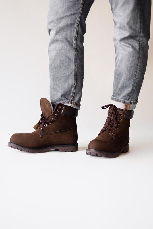 Прекрасные ботинки мужские 💪timberland brown ( на меху)💪 - Фото 4