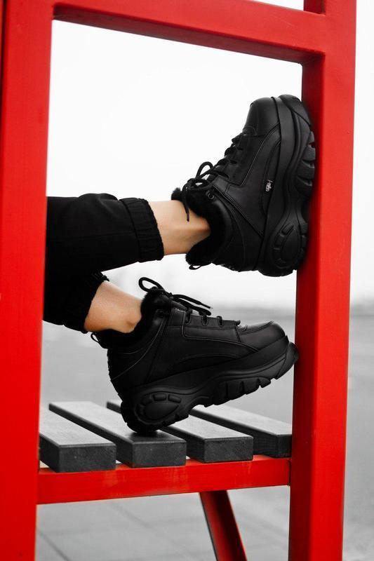 Бомбезные кроссовки ;женские 💪buffalo london black(мех)💪