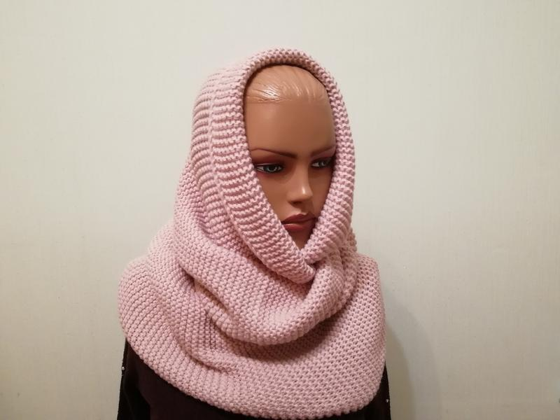 Стильный шарф хомут снуд пудра