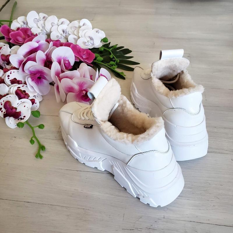 Натур кожа зимние кроссовки на меху / деми / белые - Фото 2