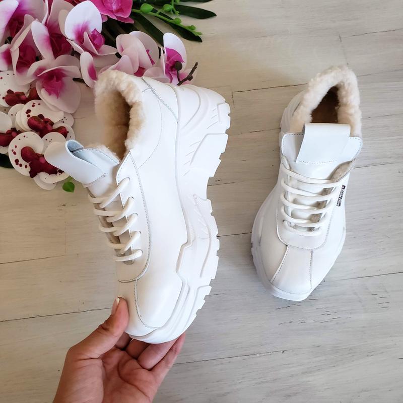 Натур кожа зимние кроссовки на меху / деми / белые - Фото 3
