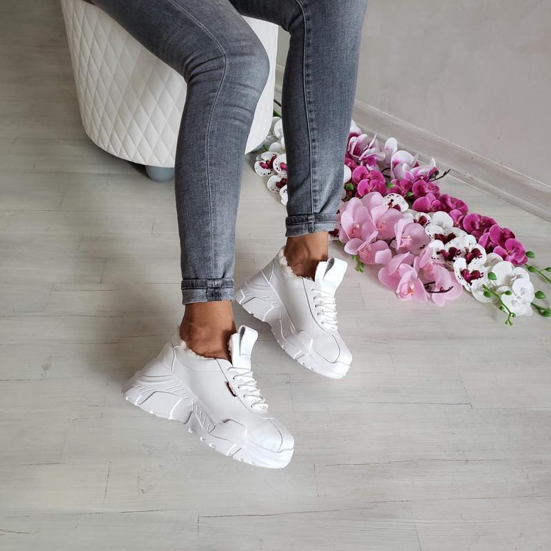 Натур кожа зимние кроссовки на меху / деми / белые - Фото 4