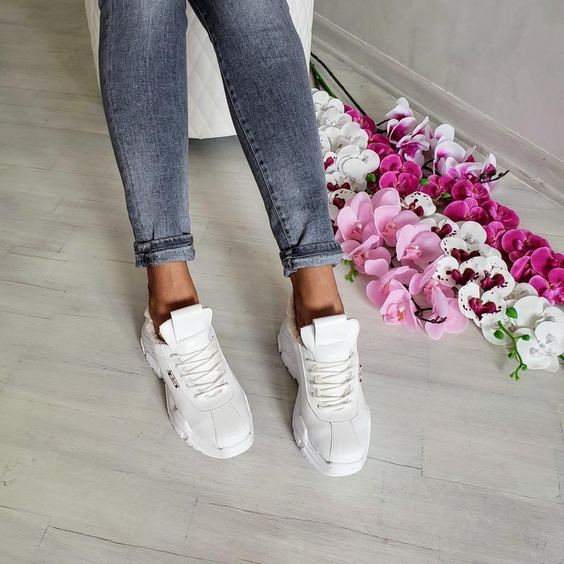 Натур кожа зимние кроссовки на меху / деми / белые - Фото 5