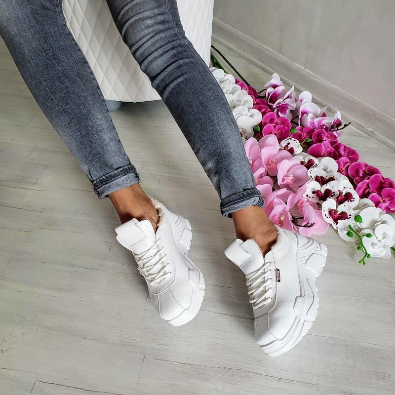 Натур кожа зимние кроссовки на меху / деми / белые - Фото 6
