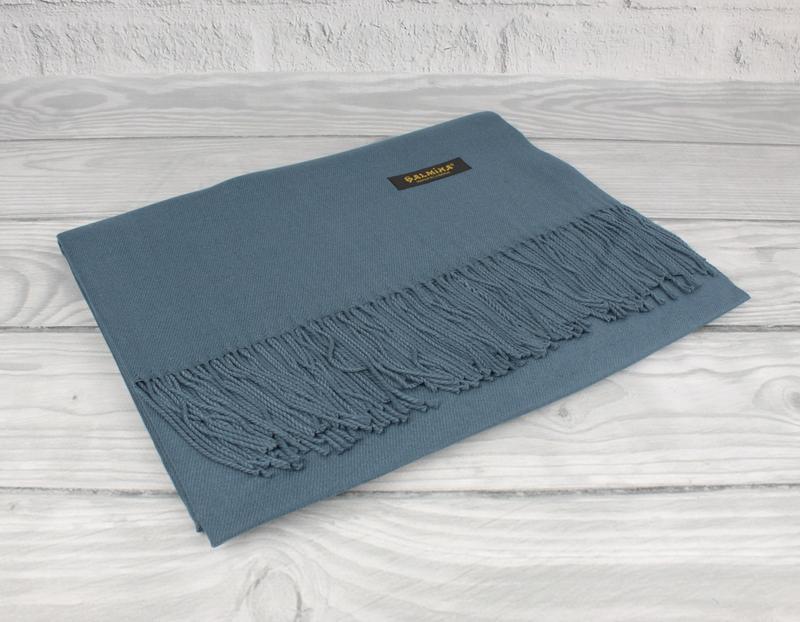 Нежный кашемировый шарф, палантин cashmere 7480-11 джинсовый, ...