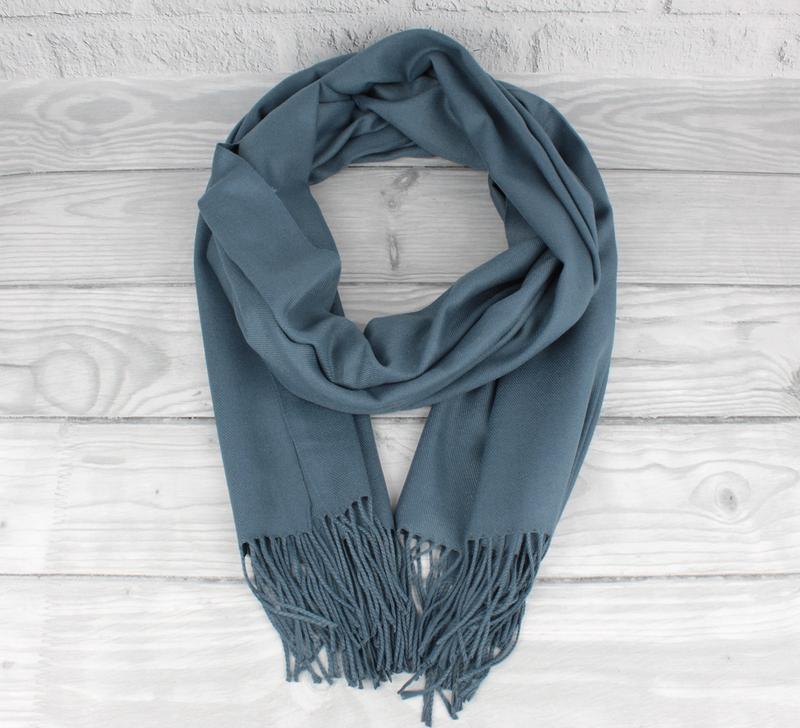 Нежный кашемировый шарф, палантин cashmere 7480-11 джинсовый, ... - Фото 2