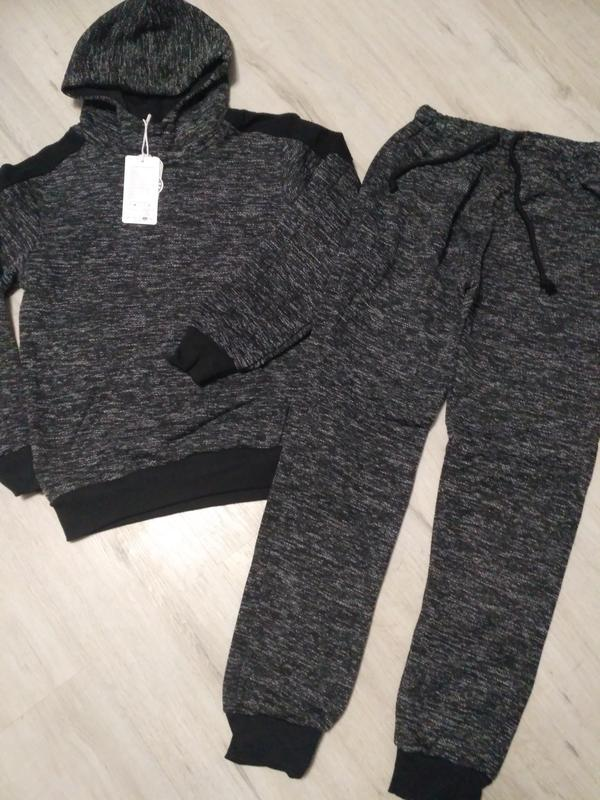 Стильный черный  утепленный спортивный костюм для мальчика 8,1...