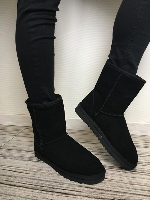 Ugg classic 2 black! женские замшевые зимние угги/ сапоги/ бот...