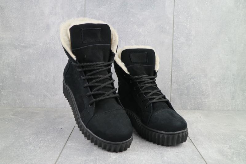 Ботинки женские crossav черные-нубук (натуральная кожа, зима)