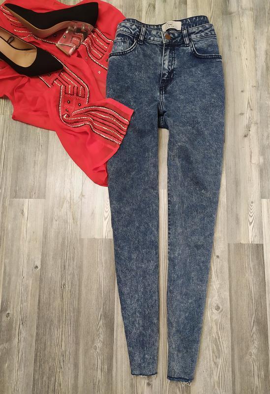 Стильные джинсы скинни с высокой посадкой талией мом new look