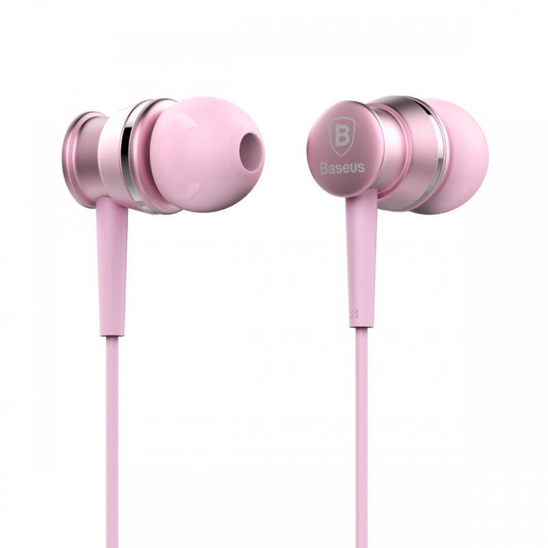 Наушники c гарнитурой Baseus Lark Series, проводные, розовые