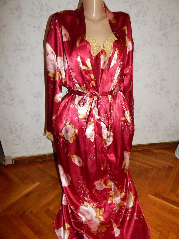 Bhs комплект атласный халат с ночнушкой р14