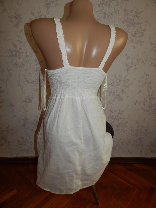 Crafted сарафан котоновый летний лёгкий стильный модный белый р8 - Фото 4