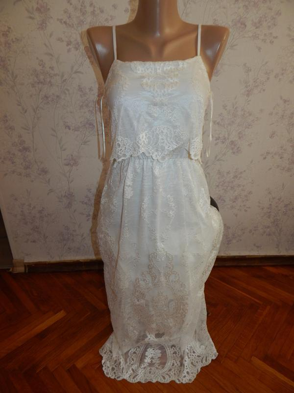 Miss selfridge платье кружевное белое нараядное р88
