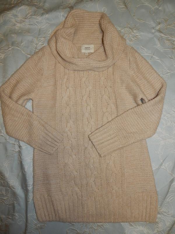 Papaya туника-свитер с горлом-хомутом тёплая вязаная р 14