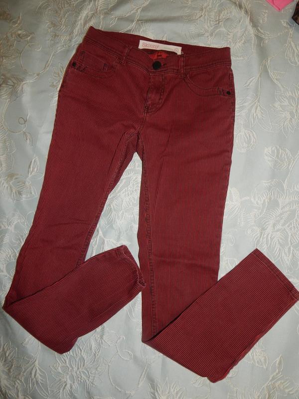 Next джинсы в тонкую полоску skinny стильные модные р 10