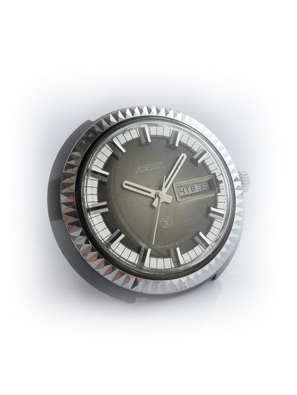 РАКЕТА_ЧЁРНЫЙ ХРОМ, сделано СССР 70-х. большие мужские часы механ - Фото 4