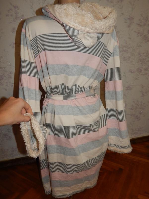 Tu халат трикотажный плотный с капюшоном рм - Фото 2