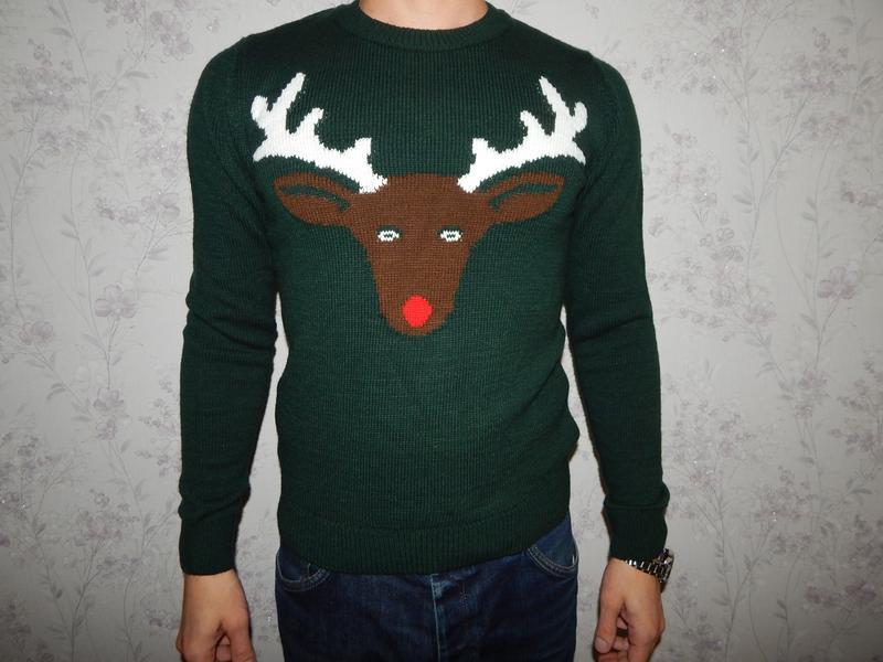 Topman свитер мужской новогодний с оленем рxs