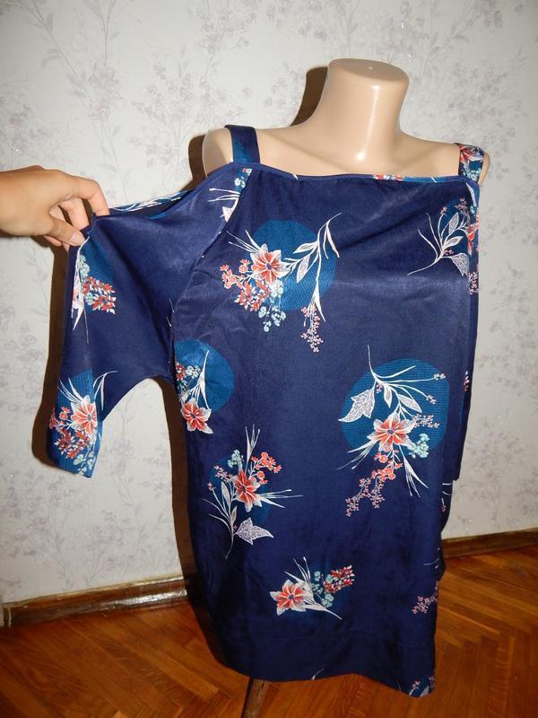 Marks&spencer блузка вискозная синяя стильная модная р14 colle...