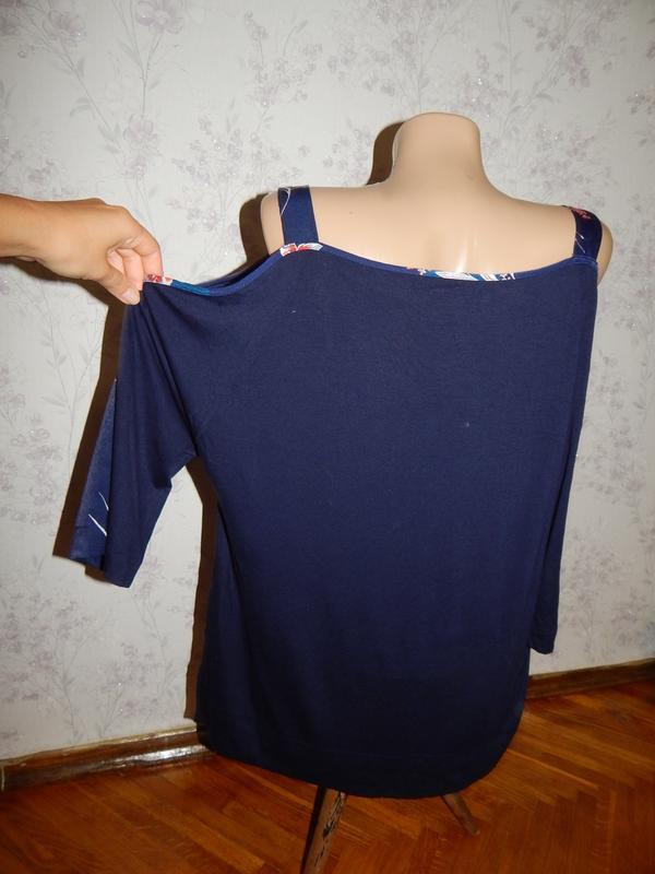 Marks&spencer блузка вискозная синяя стильная модная р14 colle... - Фото 3