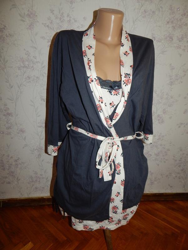 Avon комплект трикотажный халат с ночнушкой р10-12