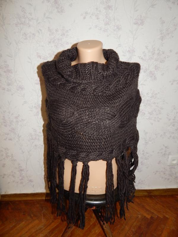 Шоколадный шарф хомут снуд женский как кофта