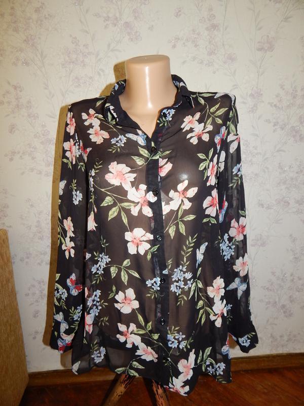 New look блузка шифоновая полу-прозрачная стильная модная р8