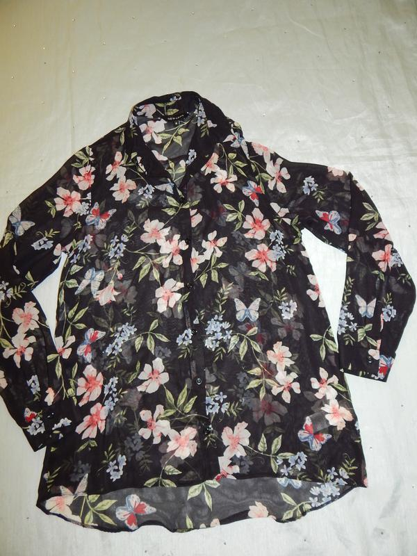 New look блузка шифоновая полу-прозрачная стильная модная р8 - Фото 2