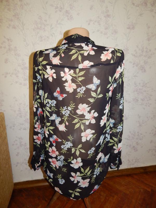New look блузка шифоновая полу-прозрачная стильная модная р8 - Фото 3