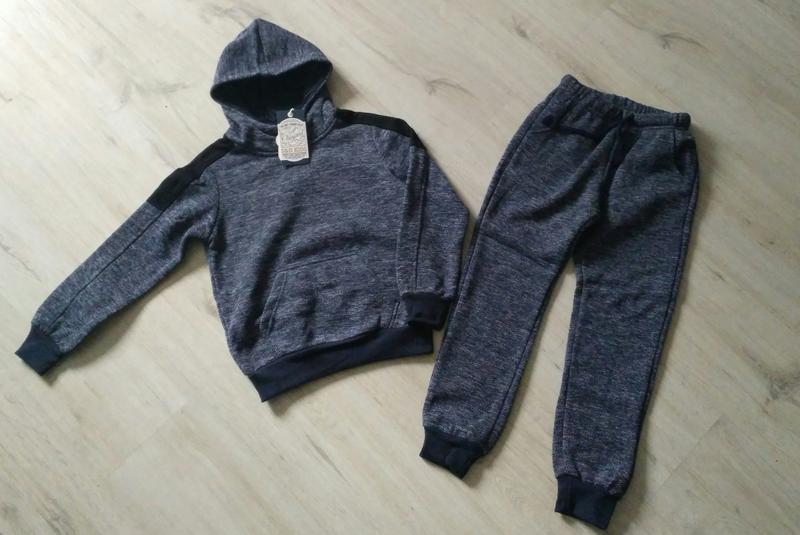 Стильный утеплённый спортивный костюм-двойка для мальчика. вен...