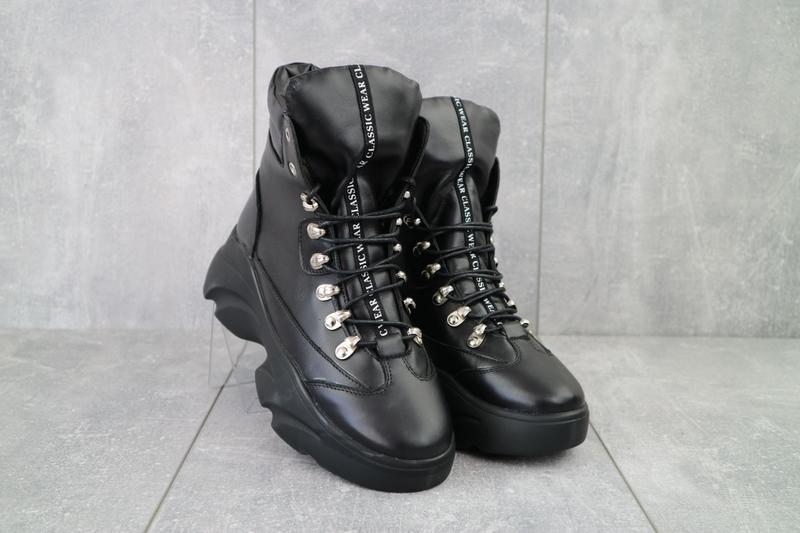 Ботинки женские viktoria черные (натуральная кожа, зима)