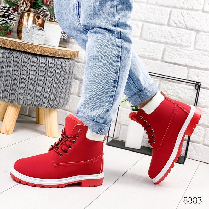 ❤ женские красные зимние ботинки сапоги полусапожки ботильоны ...