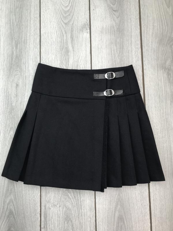 Topshop тёплая юбка 100% шерсть стильная модная s 36 8 шотландка