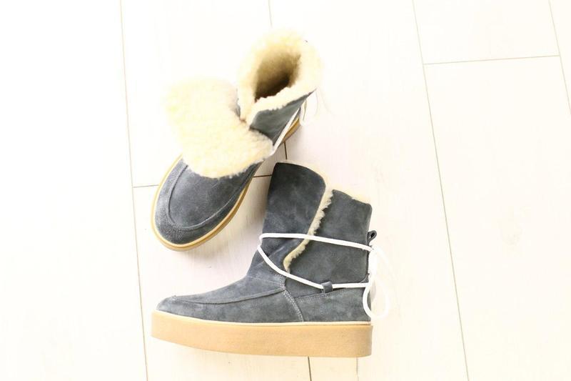 Женские зимние серые замшевые угги на шнуровке