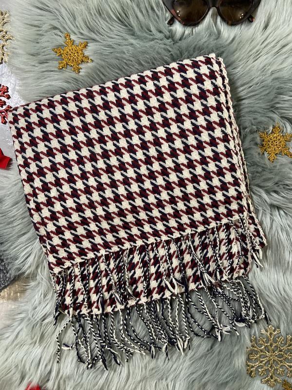 Теплый шарф гусиная лапка