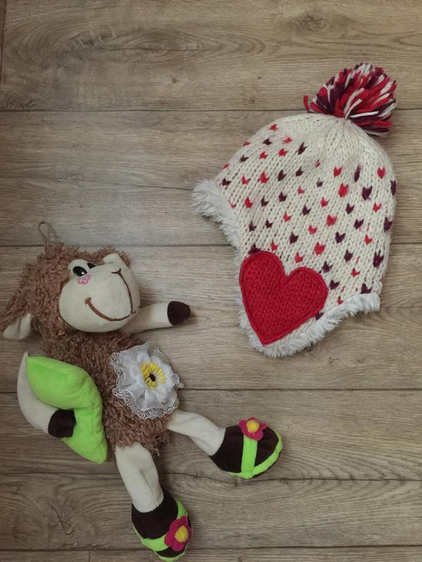 Вязаная  шапка-ушанка на  меху для девочки на 7-10 лет