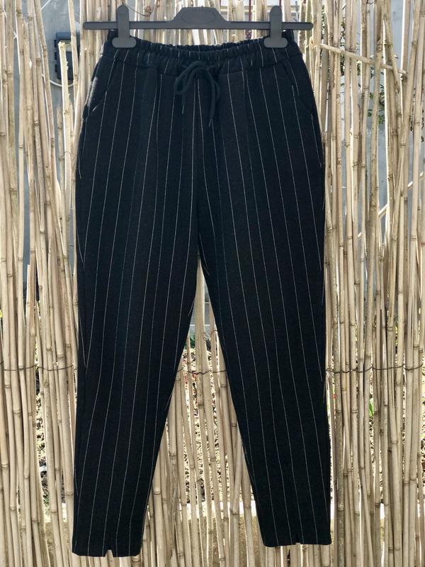 Теплые полосатые укороченные штаны, брюки джогеры