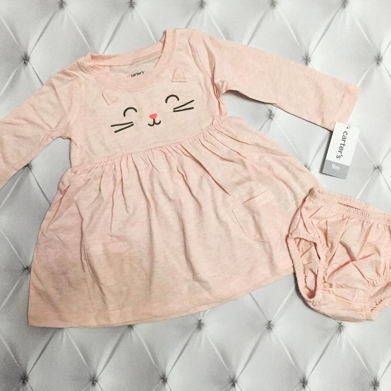 Комплект, набор, платье и трусики carter's. картерс платье с д...