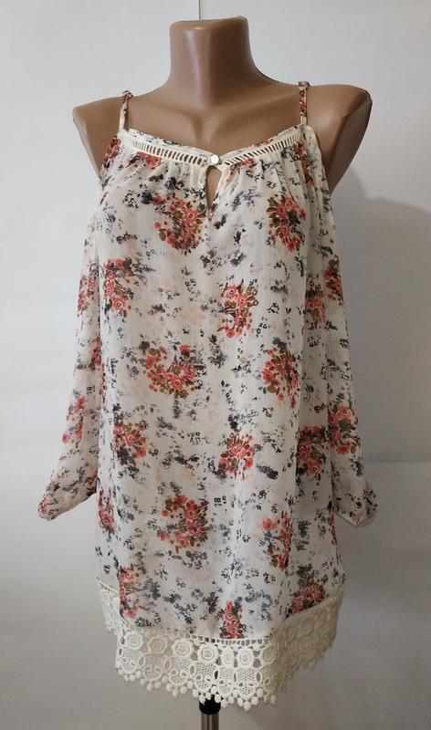 Блуза с открытыми плечами новая цветочная f&f uk 10/38/s