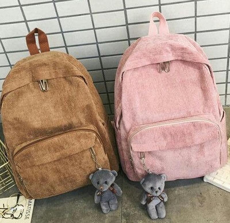 Вельветовый рюкзак с мишкой - 2 цвета