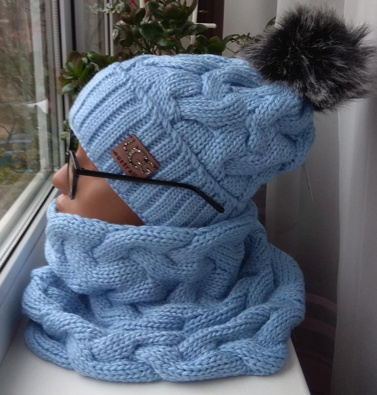 New! новый красивый комплект: шапка (на флисе) и снуд труба, г...