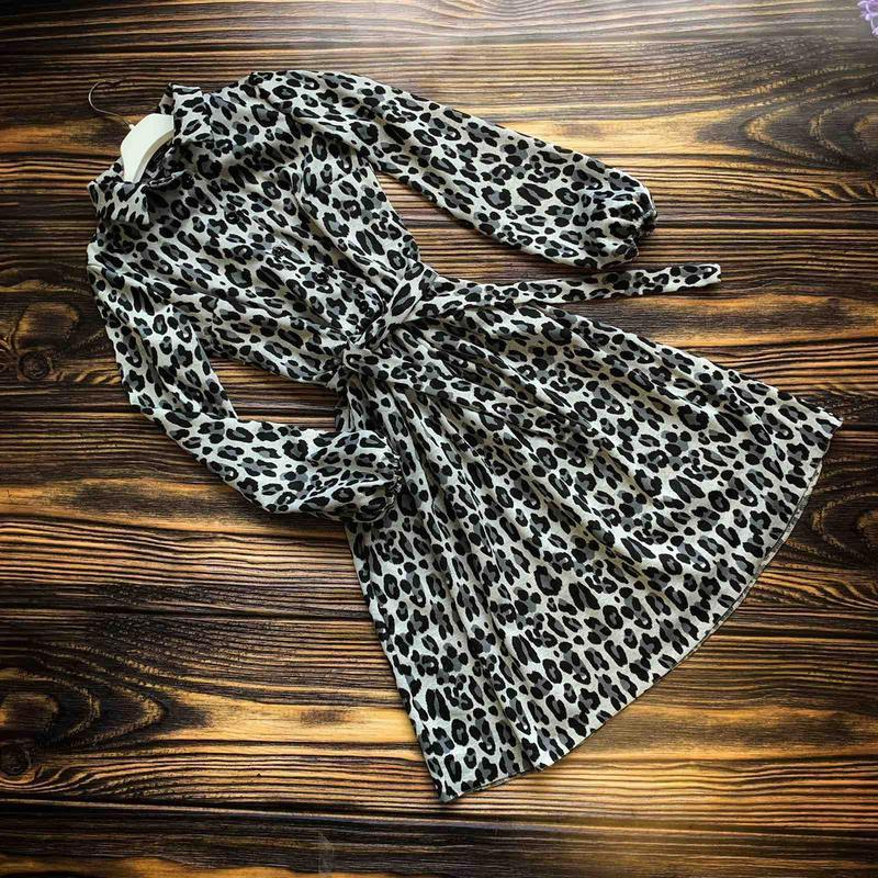 Платье-рубашка, серый леопардовый принт