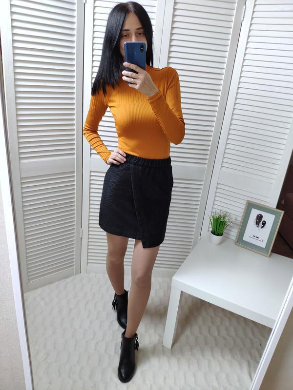 Ассиметричная юбка в змеиный принт topshop