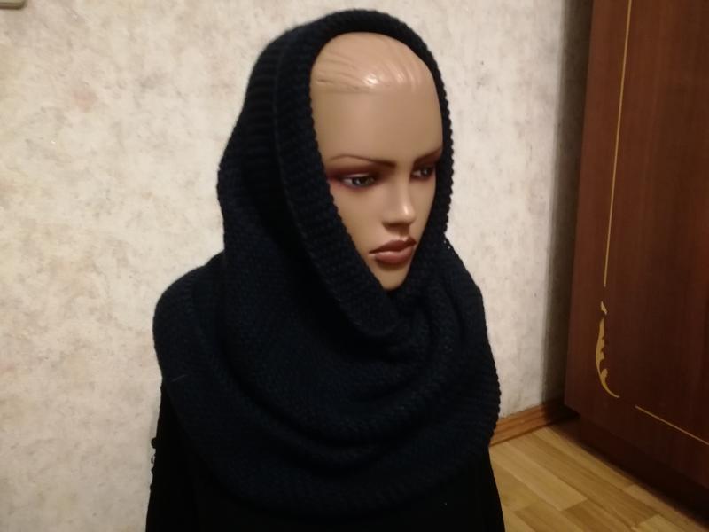 Стильный шарф снуд хомут темно-синий