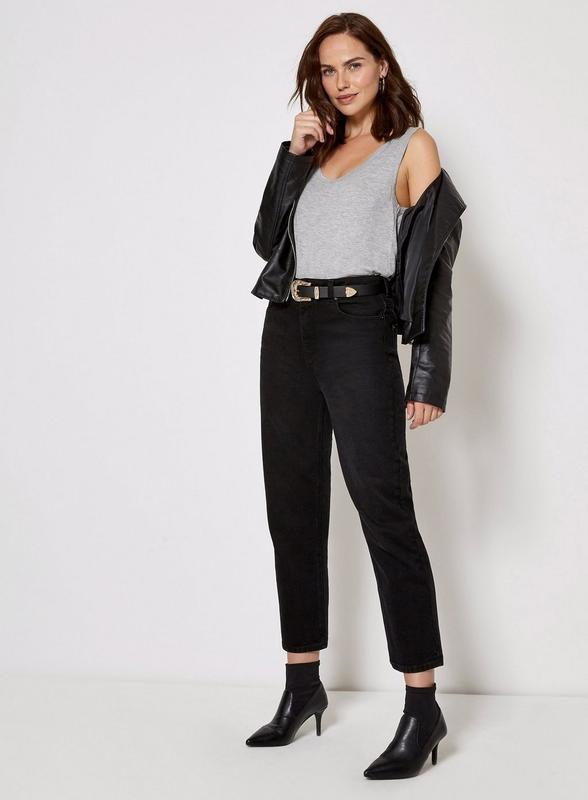 Базовые джинсы с высокой посадкой талией большой размер