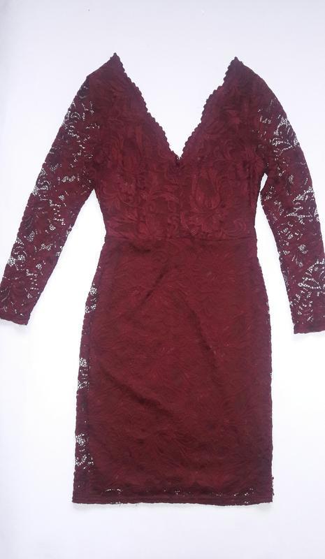 Ажурное платье цвет марсала